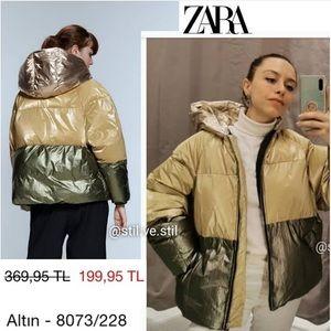 NWT Zara Color Block Green Gold Puffer Jac…